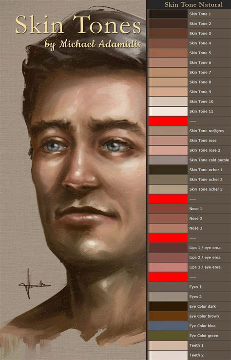 ArtStation - A complete Skin Tone Color Palette as a gift