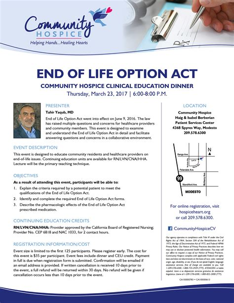 Community Hospice Clinical Education Dinner: End of Life